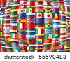 International. 130 vector country flags. - stock vector