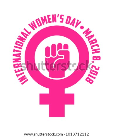 International womens day design with female symbol and raised fist for posters banners