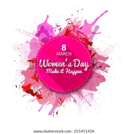 International Women's Day label, flat style. Pink Watercolor blots background.