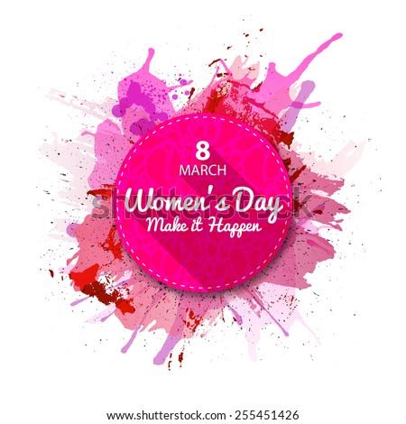 International Women's Day label, flat style. Pink Watercolor blots background.