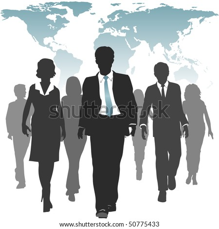 International work force of business people walks forward under a world map. - stock vector