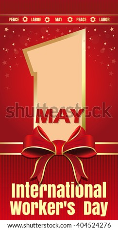 International Workers Day greeting cards. 1 May. Peace, labor, may. Vector illustration for Labor Day