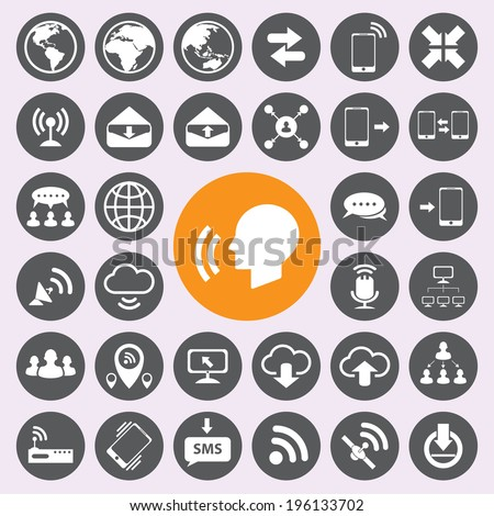 Internet and communication icons set - stock vector