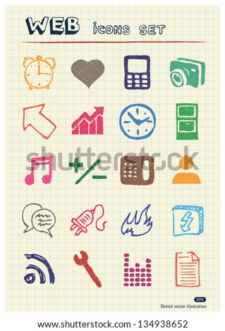 Internet and media icons set drawn by color pencils. Hand drawn vector elements pack isolated on paper - stock vector