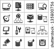 internet and network icon set - stock vector