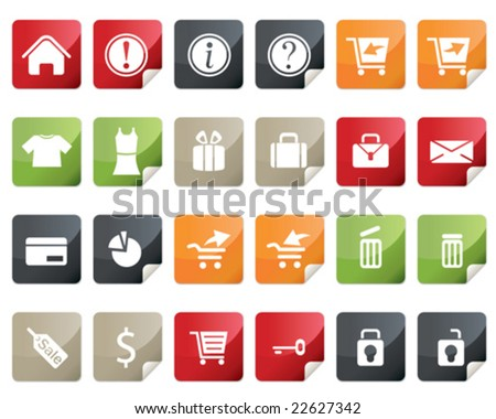 Internet and Online Shopping Icon Set. Tag and Label Style - stock vector