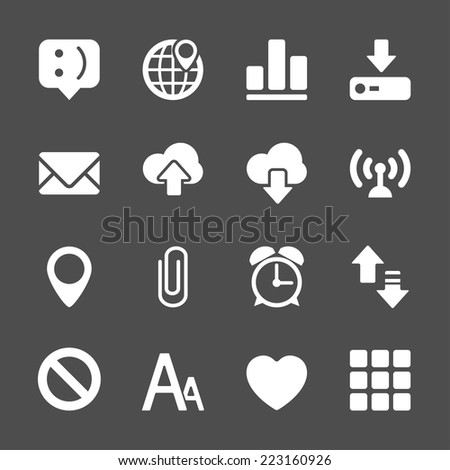 internet and website icon set, vector eps10. - stock vector