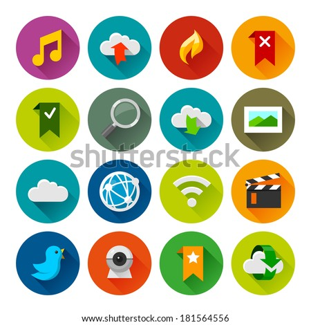 Internet and wedsites icons. Professional vector flat and long shadow icons for your website, application and presentation. - stock vector