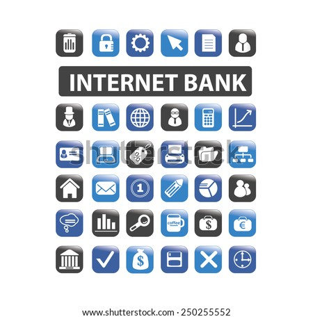 internet bank, finance icons, illustrations, signs set, vector - stock vector