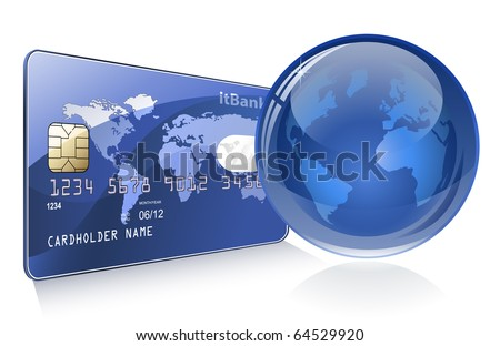 Internet Banking. Credit card with world map and Globe. Payment concept. - stock vector