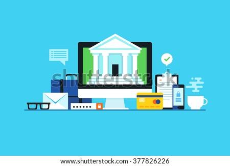 Internet banking. Flat design modern vector illustration concept. - stock vector
