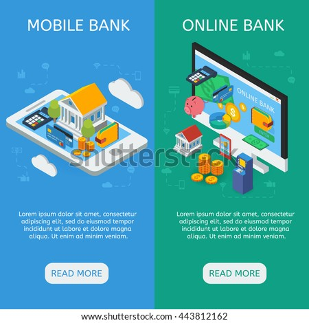 Internet banking isometric vertical banners with mobile service and online financial operation isolated vector illustration - stock vector