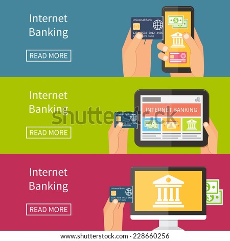 Internet banking, online purchasing and transaction. Flat vector banner illustration - stock vector