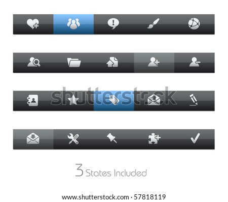 Internet & Blog // Blackbar Series +++ It includes 3 buttons states in different layers. +++ - stock vector