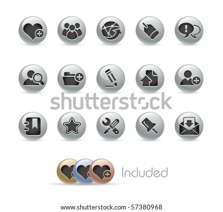 Internet & Blog // Metal Round Series --- It includes 4 color versions for each icon in different layers.--- - stock vector
