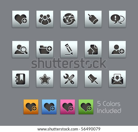 Internet & Blog // Satinbox Series -------It includes 5 color versions for each icon in different layers --------- - stock vector