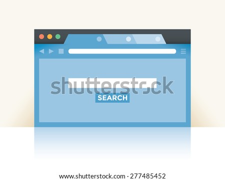 Internet browser window with search web site page and copy space for you text in empty search box. Idea - Internet search, Online shopping. - stock vector