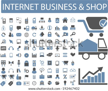 internet business, commerce, shop icons, signs set, vector - stock vector