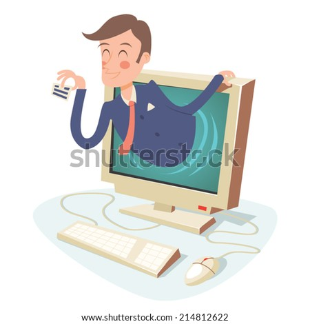 Internet Business Concept Happy Businessman with Calling Card in Monitor on Stylish Background Retro Cartoon Design Vector Illustration