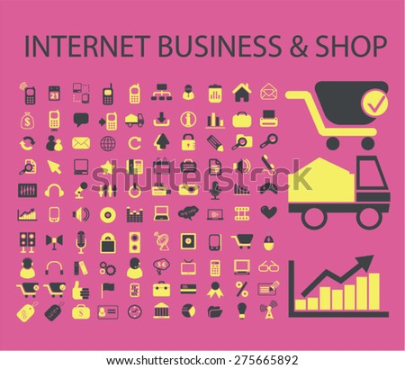 internet business, shop, eCommerce, retail icons, signs. illustrations set, vector - stock vector
