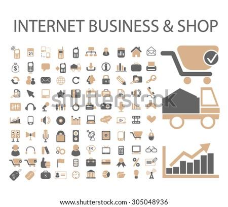 internet business, shop, store, commerce set, vector - stock vector