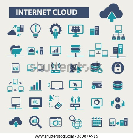 internet cloud icon, clouding, web, computer network, connection, hosting, database, pc icons  - stock vector