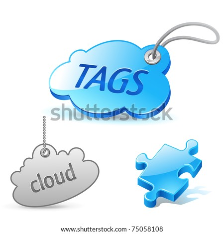 internet cloud tag icons set - stock vector