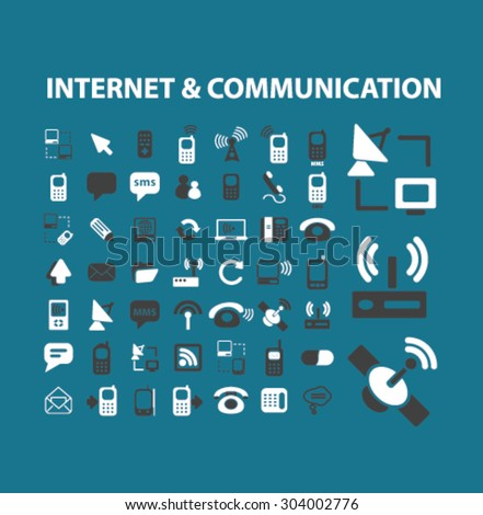internet communication flat isolated icons, signs, illustrations set, vector for web, application