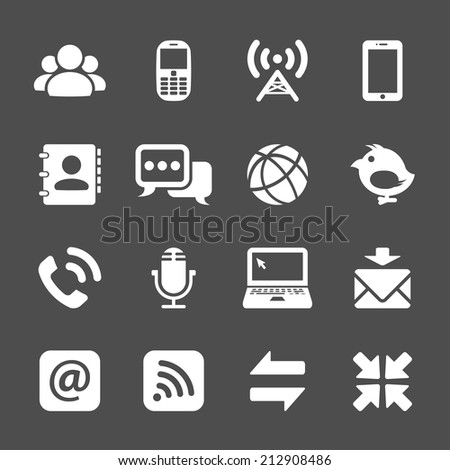 internet communication icon set, vector eps10. - stock vector