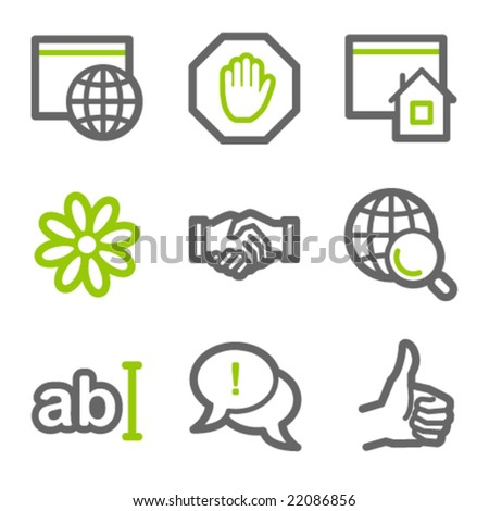 Internet communication web icons, green and gray contour series - stock vector