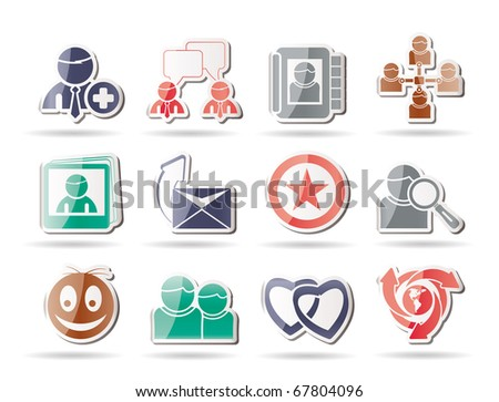 Internet Community and Social Network Icons - vector icon set - stock vector