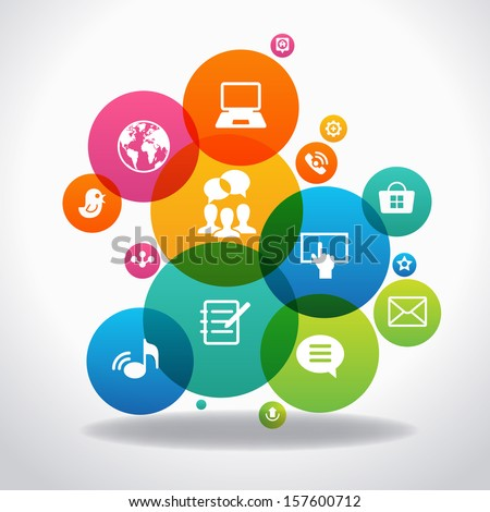Internet concept. Social network communication in the global computer networks. File is saved in AI10 EPS version. This illustration contains a transparency    - stock vector