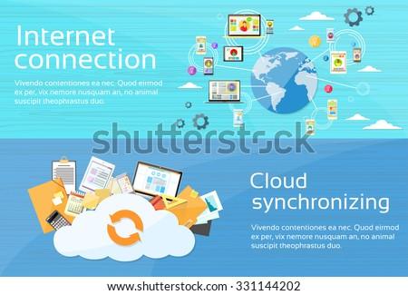 Internet Connection Cloud Synchronizing Computer Device Network Web Banner Set Flat Design Vector Illustration - stock vector