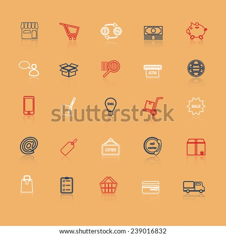 Internet entrepreneur line icons with reflect, stock vector