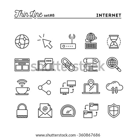 Internet, global network, cloud computing, free WiFi and more, thin line icons set, vector illustration - stock vector