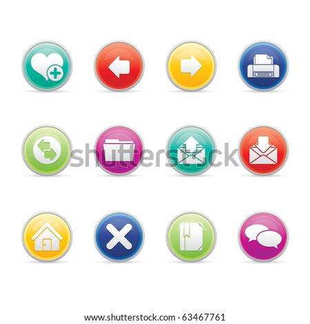 Internet icon set 1- Colored Buttons Series.  Vector EPS8 format, easy to edit. - stock vector