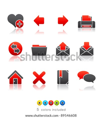 Internet icon set 1 – Multi Color Series. Icon set in EPS8 format with high resolution JPEG EPS file contains five color variations in different layers - stock vector