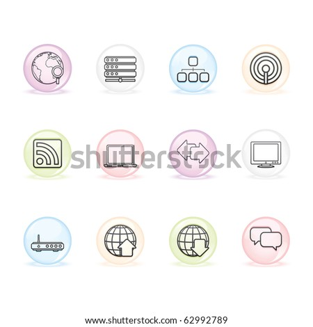Internet icon set 2 � Sphere Series.  Vector EPS 8 format, easy to edit. - stock vector