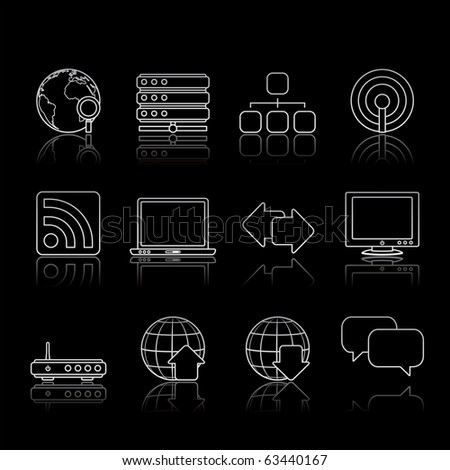Internet icon set 2 � Strokes Black Series.  Vector EPS 8 format, easy to edit. - stock vector
