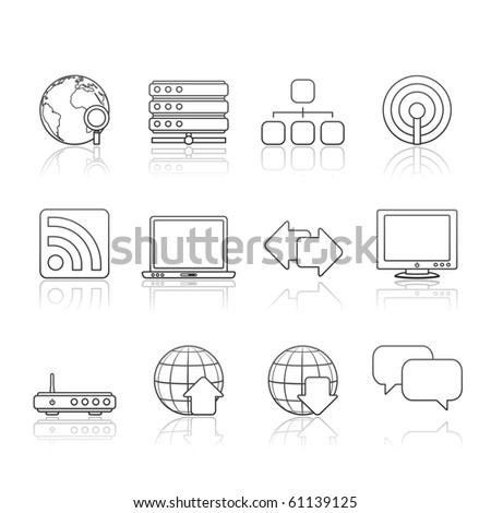 Internet icon set 2 � Strokes Series.  Vector EPS8 format, easy to edit. - stock vector