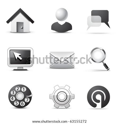 Internet icons | B&W series - stock vector