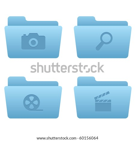 Internet Icons | Light Blue Folders 06 Professional icons for your website, application, or presentation - stock vector