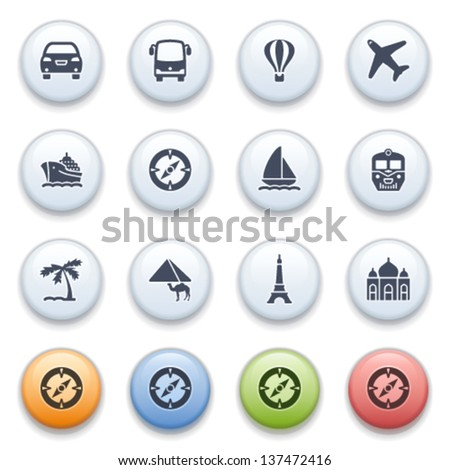 Internet icons on color buttons. Set 3. - stock vector