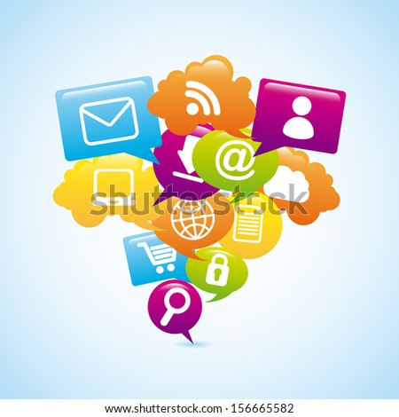 internet icons over blue background vector illustration - stock vector