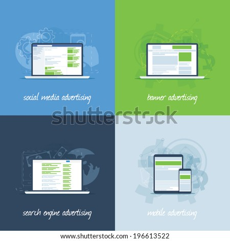 Internet marketing and advertising concepts in flat vectors - stock vector
