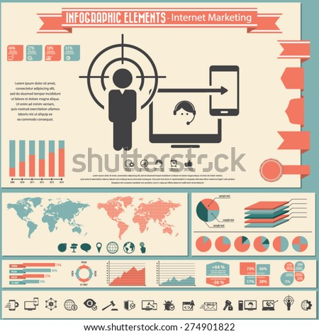 Internet marketing - infographic elements and icons set. - stock vector