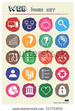 Internet, media and network web icons set drawn by chalk. Hand drawn vector elements pack isolated on paper - stock vector