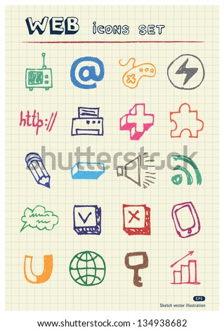 Internet, media and network web icons set drawn by color pencils. Hand drawn vector elements pack isolated on paper