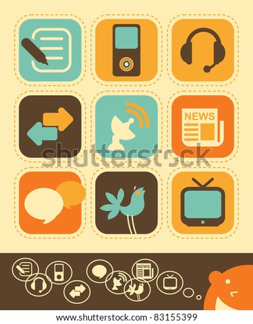Internet network and Media icons in vintage style - stock vector