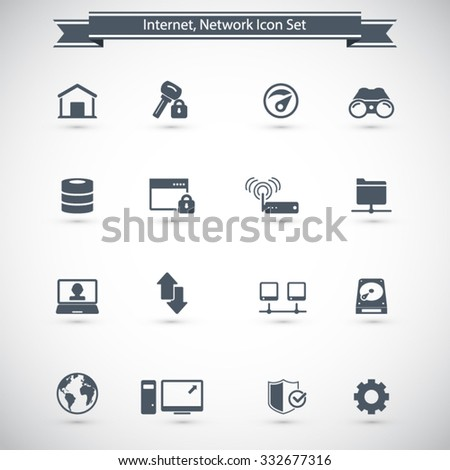 Internet network icon set - Set of 16 internet network related icons  Editable vector icons for video, mobile apps. - stock vector